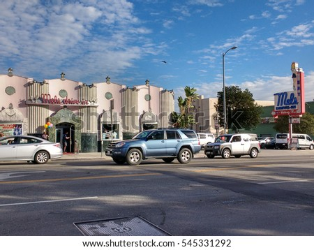 LOS ANGELES, DEC 29, 2016: Wide shot of the famous Mel's Drive-In on Highland Ave in Hollywood near the Hollywood Walk of Fame. The historic chain has been featured in movies such as American Graffiti