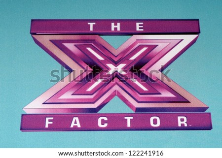 LOS ANGELES - DEC 17:  X Factor Symbol at the 'X Factor' Season Finale Press Conference at CBS Television City on December 17, 2012 in Los Angeles, CA - stock photo