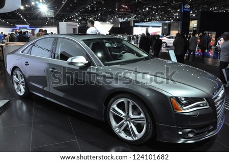 LOS ANGELES - DECEMBER 8: Audi S8 at the 2012 Los Angeles Auto Show as seen on December 8, 2012 in Los Angeles, California. - stock photo