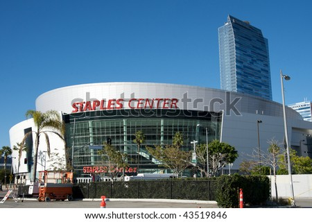 LOS ANGELES - DECEMBER 22: Staples Center, home of the Lakers, Clippers and Kings, in the afternoon of December 22, 2009, in Downtown Los Angeles, California. - stock photo