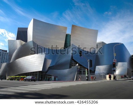LOS ANGELES - December 13: Walt Disney Concert Hall in Los Angeles, CA on December 13, 2015. The hall was designed by Frank Gehry and is a major component in the Los Angeles Music Center complex. - stock photo