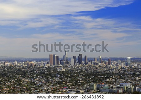 Los Angeles downtown, bird's eye view at sunny day  - stock photo
