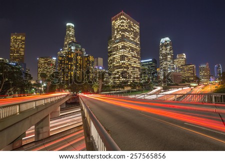 Los Angeles downtown buildings skyline highway traffic long exposure