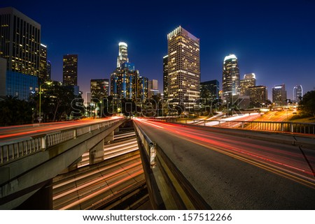 Los Angeles downtown buildings skyline long exposure at night