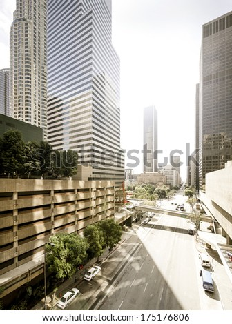 Los Angeles downtown empty streets in sunlight - stock photo