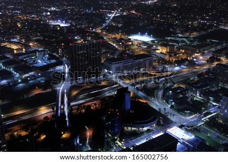 Los Angeles Downtown Night 01 Freeway Interchange Aerial View from top of skyscraper - stock photo