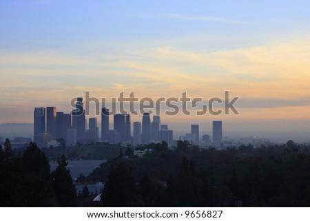 Los Angeles Downtown Sunset Skyline - stock photo