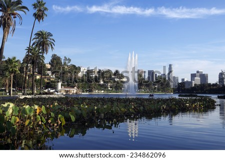 Los Angeles downtown view from park  - stock photo
