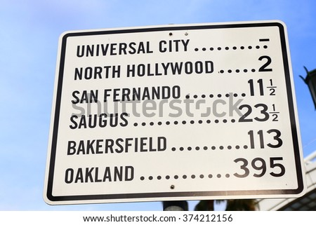 los angeles famous place guide sign - stock photo