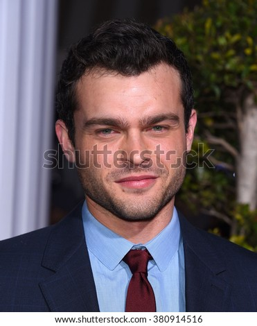 "LOS ANGELES - FEB 01:  Alden Ehrenreich arrives to the ""Hail, Caesar"" World Premiere  on February 01, 2016 in Westwood, CA.                 - stock photo"