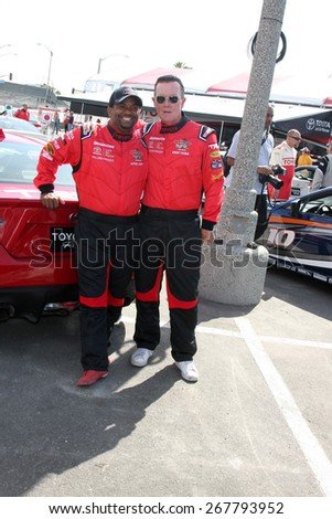 LOS ANGELES - FEB 7:  Alfonso Ribeiro, Robert Patrick at the Toyota Grand Prix of Long Beach Pro/Celebrity Race Press Day at the Grand Prix Compound on FEB 7, 2015 in Long Beach, CA - stock photo