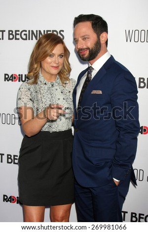 "LOS ANGELES - FEB 15:  Amy Poehler, Nick Kroll at the ""Adult Beginners"" Los Angeles Premiere at the ArcLight Hollywood Theaters on April 15, 2015 in Los Angeles, CA - stock photo"