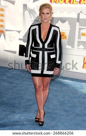 LOS ANGELES - FEB 11:  Amy Schumer at the MTV Movie Awards 2015 at the Nokia Theater on April 11, 2015 in Los Angeles, CA - stock photo