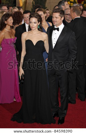 LOS ANGELES - FEB 22: Angelina Jolie_Brad Pitt at the 81st Annual Academy Awards - Oscar Arrivals in Los Angeles, California on February 22, 2009 - stock photo
