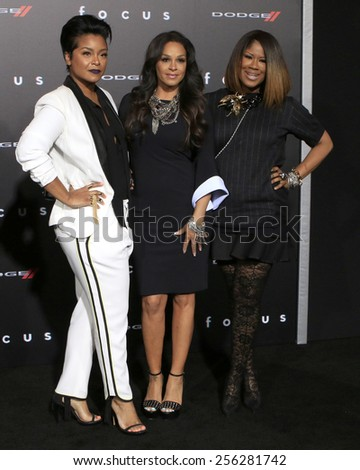 """LOS ANGELES - FEB 24:  April Daniels, Sheree Fletcher, Diann Valentine at the """"Focus"""" Premiere at  TCL Chinese Theater on February 24, 2015 in Los Angeles, CA - stock photo"""