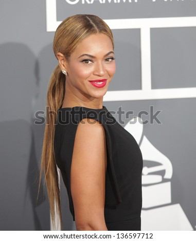LOS ANGELES - FEB 10:  Beyonce arrives to the Grammy Awards 2013  on February 10, 2013 in Los Angeles, CA. - stock photo