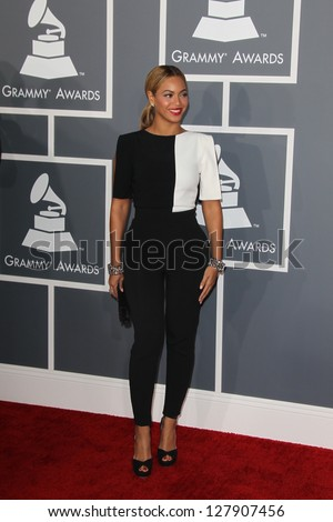 LOS ANGELES - FEB 10:  Beyonce Knowles arrives at the 55th Annual Grammy Awards at the Staples Center on February 10, 2013 in Los Angeles, CA - stock photo