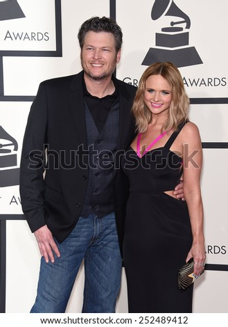 LOS ANGELES - FEB 08:  Blake Shelton & Miranda Lambert arrives to the Grammy Awards 2015  on February 8, 2015 in Los Angeles, CA                 - stock photo