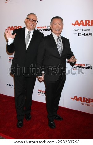 LOS ANGELES - FEB 2:  Brad Altman Takei, George Takei at the AARP 14th Annual Movies For Grownups Awards Gala at a Beverly Wilshire Hotel on February 2, 2015 in Beverly Hills, CA - stock photo