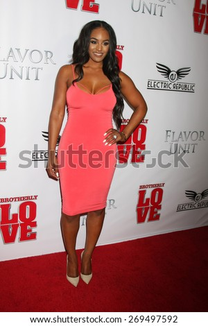 """LOS ANGELES - FEB 13:  Brandi Maxiell at the """"Brotherly Love"""" LA Premiere at the Silver Screen Theater at the Pacific Design Center on April 13, 2015 in West Hollywood, CA - stock photo"""