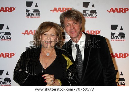 """LOS ANGELES - FEB 7:  Brenda Vacarro & husband arrive at the 2011 AARP """"Movies for Grownups"""" Gala  at Regent Beverly Wilshire Hotel on February 7, 2011 in Beverly Hills, CA - stock photo"""
