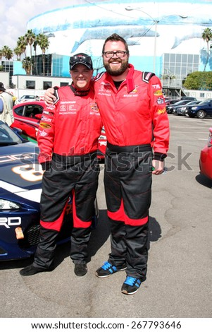 LOS ANGELES - FEB 7:  Brett Davern, Rutledge Wood at the Toyota Grand Prix of Long Beach Pro/Celebrity Race Press Day at the Grand Prix Compound on FEB 7, 2015 in Long Beach, CA - stock photo