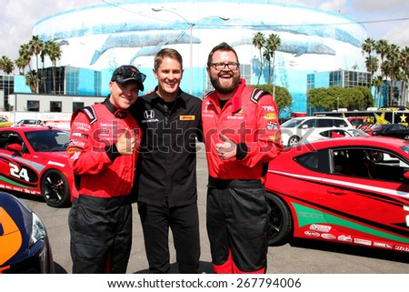 LOS ANGELES - FEB 7:  Brett Davern, Ryan Hunter-Reay, Rutledge Wood at the Toyota Grand Prix of Long Beach Pro/Celebrity Race Press Day at the Grand Prix Compound on FEB 7, 2015 in Long Beach, CA - stock photo