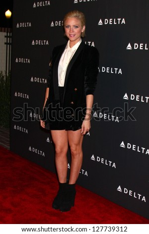 LOS ANGELES - FEB 7:  Brittany Snow arrives at the Celebration of LA's Music Industry reception at the Getty House on February 7, 2013 in Los Angeles, CA - stock photo