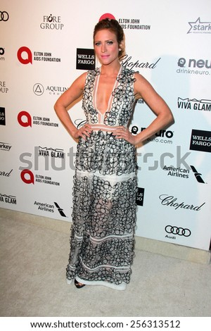 LOS ANGELES - FEB 22:  Brittany Snow at the Elton John Oscar Party 2015 at the City Of West Hollywood Park on February 22, 2015 in West Hollywood, CA - stock photo