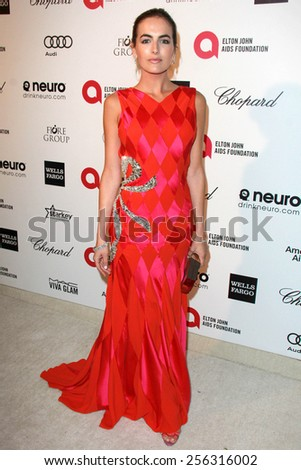 LOS ANGELES - FEB 22:  Camilla Belle at the Elton John Oscar Party 2015 at the City Of West Hollywood Park on February 22, 2015 in West Hollywood, CA - stock photo