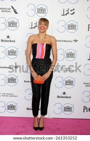 LOS ANGELES - FEB 21:  Carmen Ejogo at the 30th Film Independent Spirit Awards at a tent on the beach on February 21, 2015 in Santa Monica, CA - stock photo
