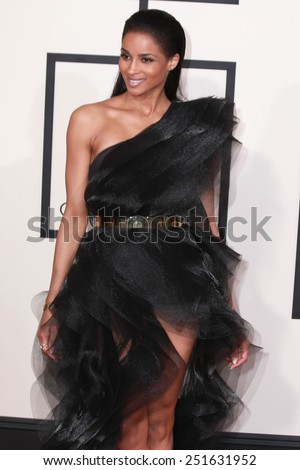 LOS ANGELES - FEB 8:  Ciara at the 57th Annual GRAMMY Awards Arrivals at a Staples Center on February 8, 2015 in Los Angeles, CA - stock photo