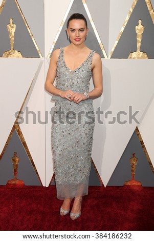 LOS ANGELES - FEB 28:  Daisy Ridley at the 88th Annual Academy Awards - Arrivals at the Dolby Theater on February 28, 2016 in Los Angeles, CA - stock photo
