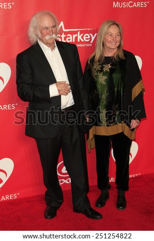 LOS ANGELES - FEB 6:  David Crosby, Jan Crosby at the MusiCares 2015 Person Of The Year Gala at a Los Angeles Convention Center on February 6, 2015 in Los Angeles, CA - stock photo