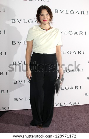 LOS ANGELES - FEB 19:  Drew Barrymore arrives at the BVLGARI Celebrates Elizabeth Taylor's Jewelry Collection at the BVLGARI on February 19, 2013 in Beverly Hills, CA - stock photo