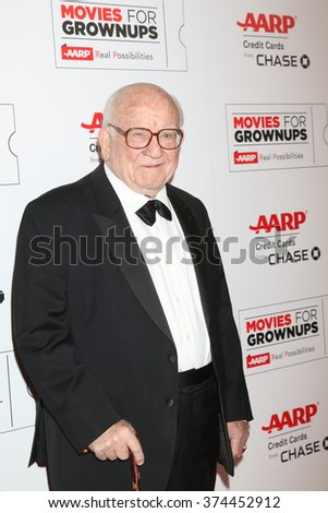 LOS ANGELES - FEB 8:  Ed Asner at the 15th Annual Movies For Grownups Awards at the Beverly Wilshire Hotel on February 8, 2016 in Beverly Hills, CA - stock photo