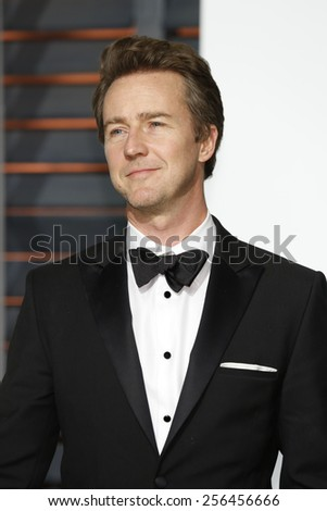 LOS ANGELES - FEB 22:  Edward Norton at the Vanity Fair Oscar Party 2015 at the Wallis Annenberg Center for the Performing Arts on February 22, 2015 in Beverly Hills, CA - stock photo