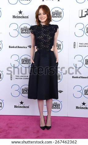 LOS ANGELES - FEB 21:  Emma Stone arrives to the 2015 Film Independent Spirit Awards  on February 21, 2015 in Santa Monica, CA                 - stock photo