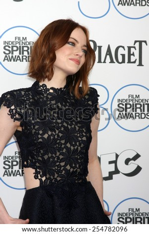 LOS ANGELES - FEB 21:  Emma Stone at the 30th Film Independent Spirit Awards at a tent on the beach on February 21, 2015 in Santa Monica, CA - stock photo