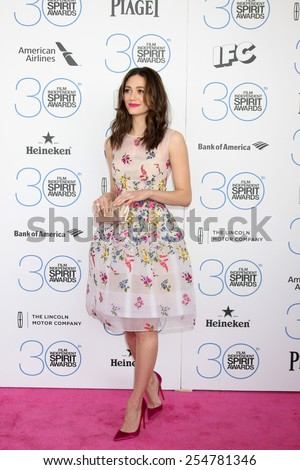 LOS ANGELES - FEB 21:  Emmy Rossum at the 30th Film Independent Spirit Awards at a tent on the beach on February 21, 2015 in Santa Monica, CA - stock photo
