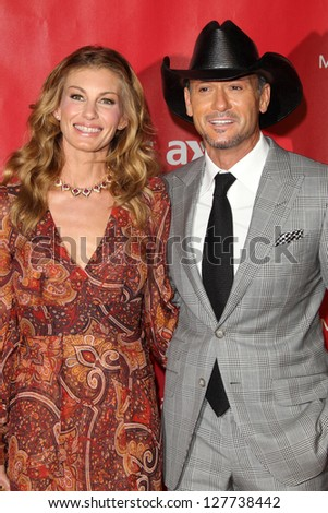 LOS ANGELES - FEB 8:  Faith Hill, Tim McGraw arrives at the 2013 MusiCares Person Of The Year Gala at the Los Angeles Convention Center on February 8, 2013 in Los Angeles, CA - stock photo