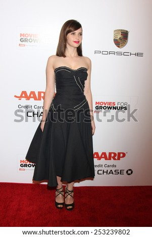 LOS ANGELES - FEB 2:  Felicity Jones at the AARP 14th Annual Movies For Grownups Awards Gala at a Beverly Wilshire Hotel on February 2, 2015 in Beverly Hills, CA - stock photo