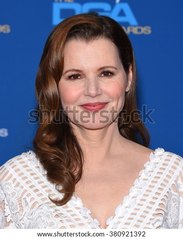 LOS ANGELES - FEB 06:  Geena Davis arrives to the Directors Guild Awards 2016  on February 06, 2016 in Century City, CA.                 - stock photo