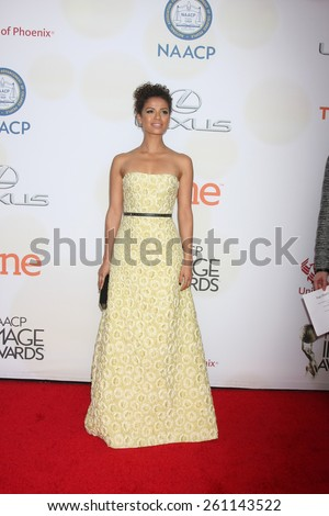 LOS ANGELES - FEB 6:  Gugu Mbatha-Raw at the 46th NAACP Image Awards Arrivals at a Pasadena Convention Center on February 6, 2015 in Pasadena, CA - stock photo