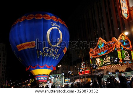 LOS ANGELES - FEB 13 - Hot Air Balloon arrives at the Oz The Great and Powerful World Premiere on February 13, 2013 in Los Angeles, CA              - stock photo