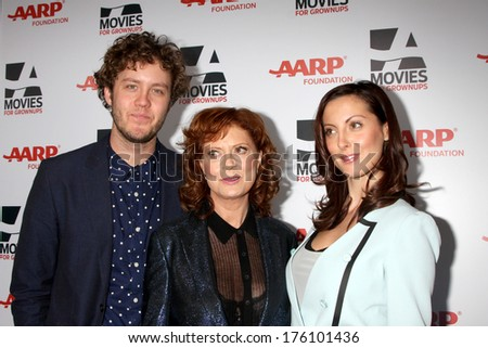 "LOS ANGELES - FEB 10:  Jack Henry Robbins, Susan Sarandon, Eva Amurri Martino at the AARP ""Movies for Grownups"" Awards at Beverly Wilshire Hotel on February 10, 2014 in Los Angeles, CA"