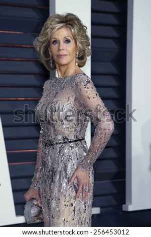 LOS ANGELES - FEB 22:  Jane Fonda at the Vanity Fair Oscar Party 2015 at the Wallis Annenberg Center for the Performing Arts on February 22, 2015 in Beverly Hills, CA - stock photo