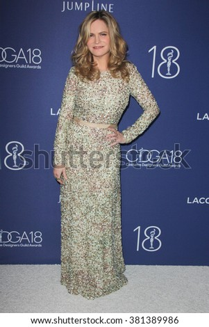 LOS ANGELES - FEB 23:  Jennifer Jason Leigh at the 18th Costume Designers Guild Awards at the Beverly Hilton Hotel on February 23, 2016 in Beverly Hills, CA - stock photo