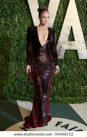 LOS ANGELES - FEB 26:  Jennifer Lopez arrives at the 2012 Vanity Fair Oscar Party  at the Sunset Tower on February 26, 2012 in West Hollywood, CA - stock photo