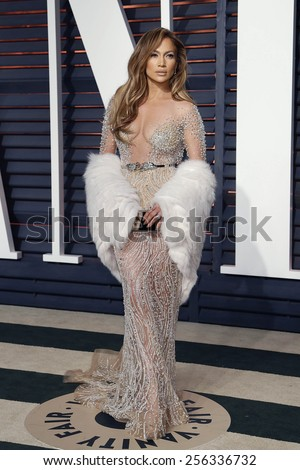 LOS ANGELES - FEB 22:  Jennifer Lopez at the Vanity Fair Oscar Party 2015 at the Wallis Annenberg Center for the Performing Arts on February 22, 2015 in Beverly Hills, CA - stock photo